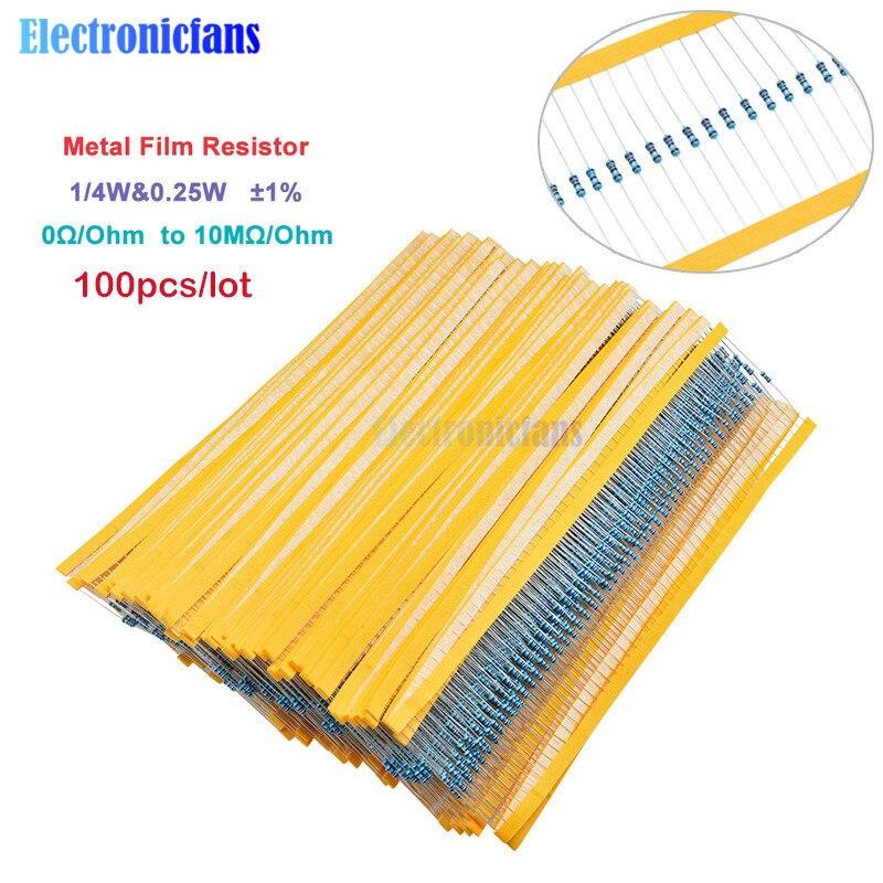 100 Uds 1/4W 0,25 W 0 ~ 10M Ohm 1% resistencia de película de Metal 100R 220R 1K 1,5 K 2,2 K 4,7 K 10K 22K 47K 100K 100, 220, 220 ohm 1M resistencia