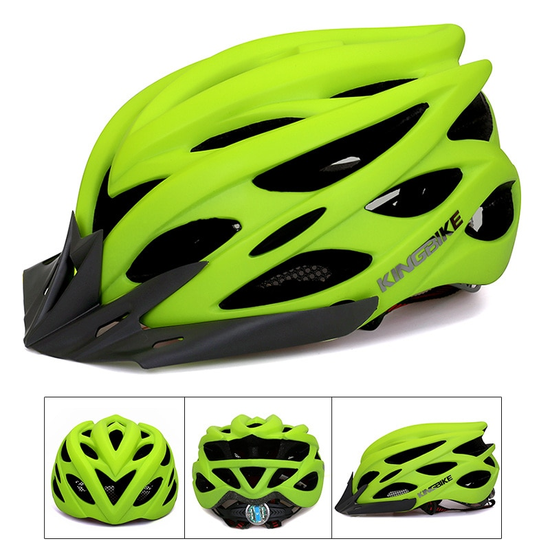 Cascos de Ciclismo para hombre y mujer, Casco con luz trasera y moldeado integralmente para bicicleta de montaña o carretera, Casco de Ciclismo verde mate, 2017