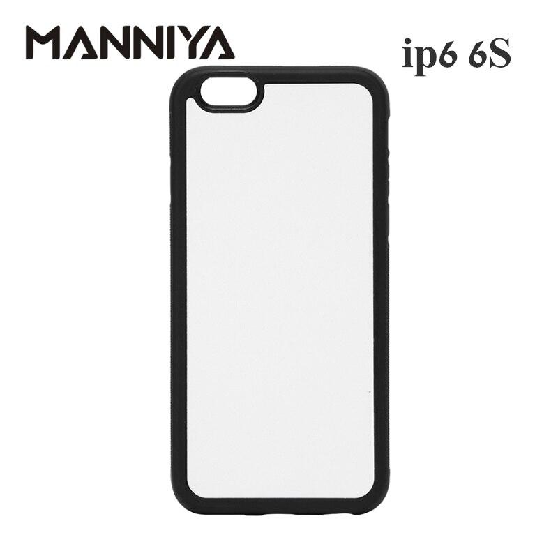 MANNIYA 2D التسامي فارغة المطاط قضية الهاتف آيفون 6/6s مع إدراج الألومنيوم شحن مجاني! 100 قطعة/الوحدة