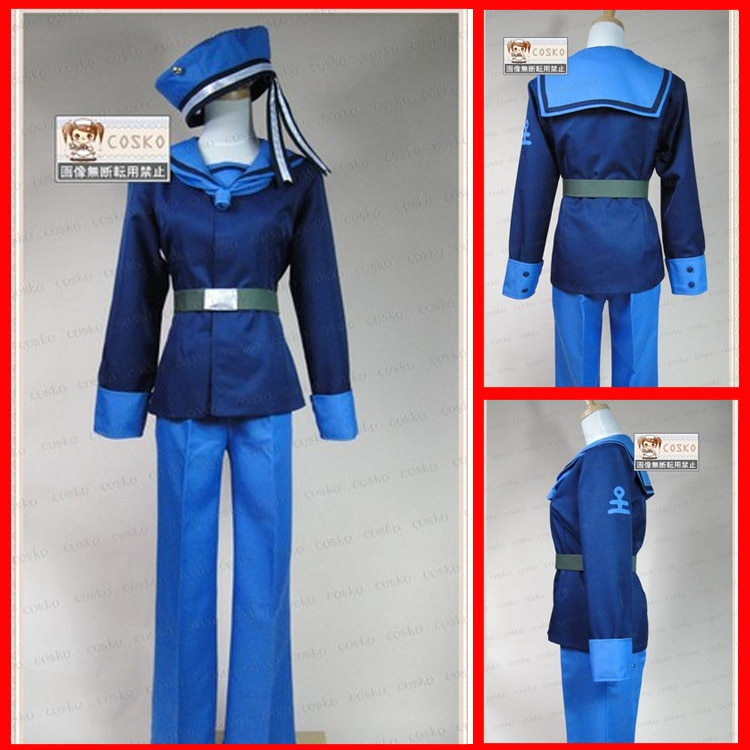 Axis Powers Hetalia Noruega Cosplay uniforme negro top + pantalón + sombrero