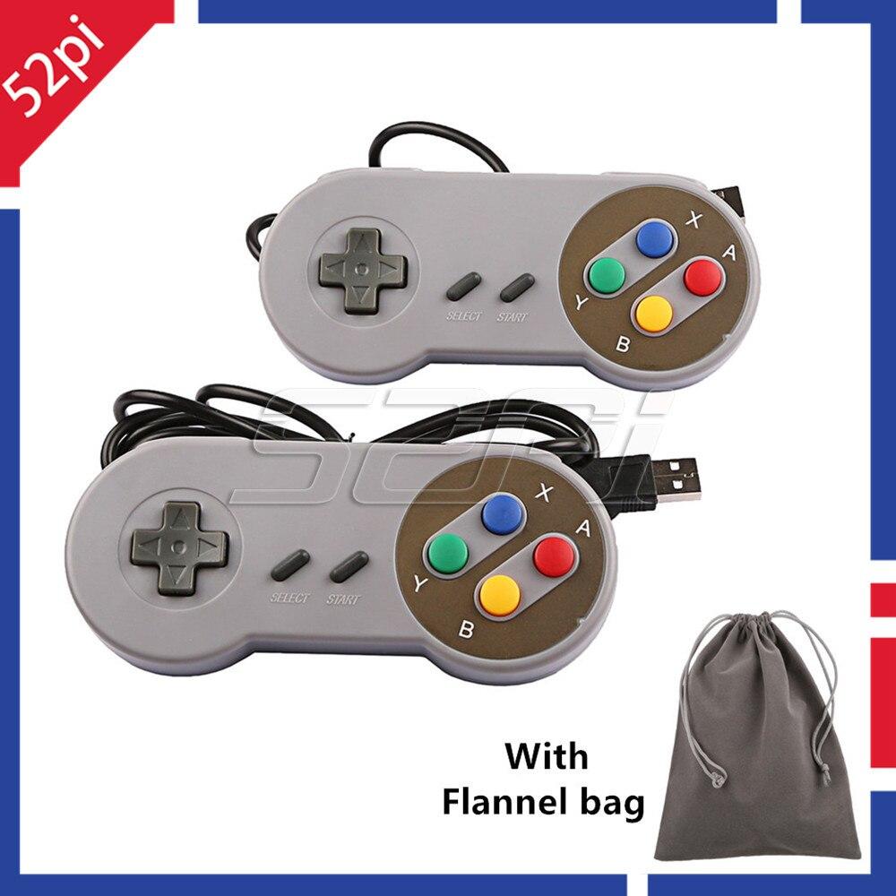52Pi 2 pièces/lot manette de jeu Super SNES USB manette Joypad avec sac en flanelle pour PC framboise Pi 3 Retropie NESPi