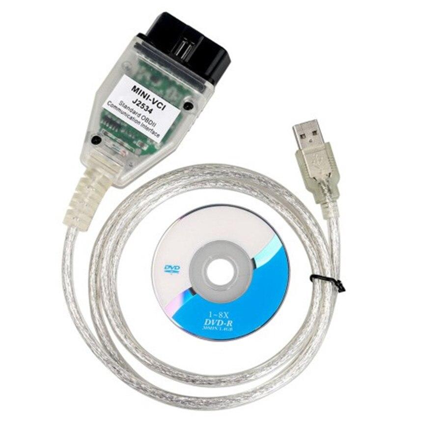 Mini VCI mini-vci V13.00.022 J2534 OBD2 Cable de diagnóstico con Software de diagnóstico TIS OEM 10 unids/lote