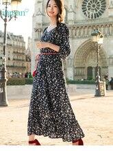 INMAN bahar v yaka Retro edebi çiçek baskı tanımlı bel ince gevşek kadın bir-ling uzun elbise