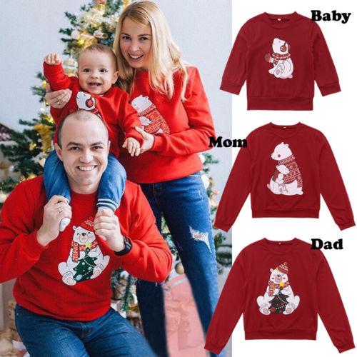 Christmas Family Sweatshirt Women Kid Bear Sweatshirt Hoodies Pullover Long Sleeve Tops