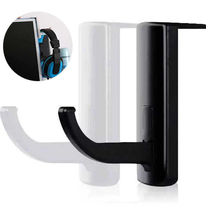 Mayitr 1pc High Quality Plastic Headphone Holder Black Earphone PC Monitor Display Hanger Stand Hook for Earphone Accessories