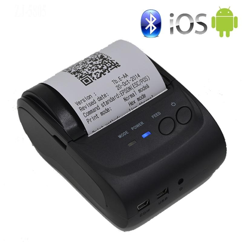 Imprimante Portable Mobile 58mm imprimante sans fil Bluetooth Mini imprimante thermique Support Android + IOS