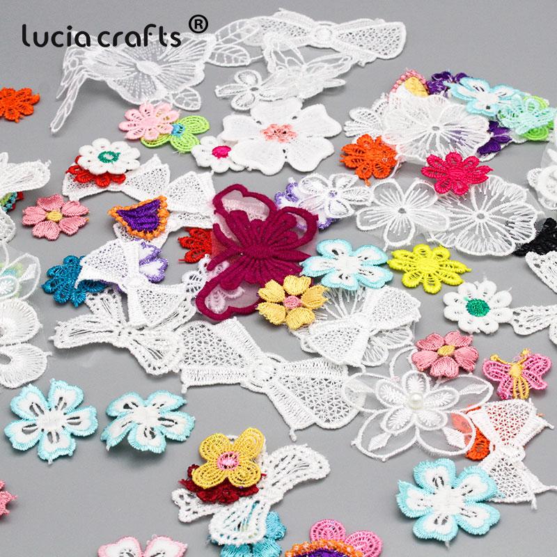 30 г 1-12 см случайная микс Стиль Цветок Лук Аппликация отделка вышитая органза нашивки значки для Аксессуары для пошива одежды B0108