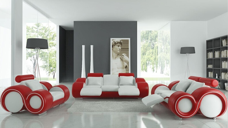 Conjunto de sofás modernos con sofá de cuero genuino, muebles oliver