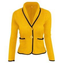 2020 hiver automne poches Blazers pour femme couleur unie bureau dame POLO cou à manches longues manteaux Blazer Feminino grande taille 6XL