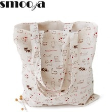 SMOOZA Simple Fresh Cotton Fabric Shopping Bag Women Printing cat print Shoulder Handbag Totes Package Female Hemp Beach Bag