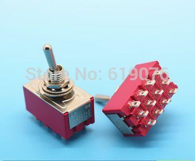 10 pcs 6A/125VAC 2A/250VAC 12 Pinos 4PDT ON/ON Toggle Switch 2 Posição Mini MTS-402