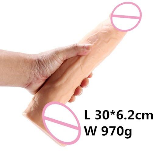 11,8*2,5 pulgadas gran dildo realista del sexo para la masturbación de mujeres consoladores para mujeres de pene dick negro consolador gigante didlo
