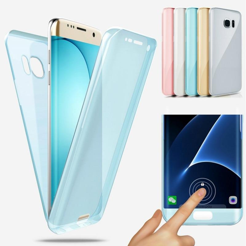 360 de cuerpo completo de silicona cubierta de la caja para Samsung Galaxy S9 S8 S7 S6 Edge Plus A8 2018 A3 A5 A7 J3 J5 J7 Pro 2016 NOTA DE 2017 8 Funda