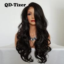 QD-Tizer perruque Lace Front Wig synthétique   Perruque Body Wave longue, sans colle, couleur marron, sans colle, résistante à la chaleur, pour femmes