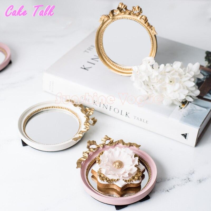 Мини-поднос для торта Европейская винтажная зеркальная пластина золото/розовый/белый Спокойный макияж зеркало Конфета бар украшение торта инструмент