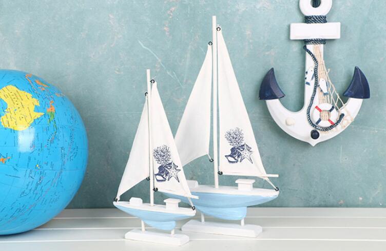 1 ud. De estatuillas de velero de madera blanca estilo mediterráneo, raya de madera, barco, oficina en casa, escritorio, barcos de navegación marítima en miniatura KN 060