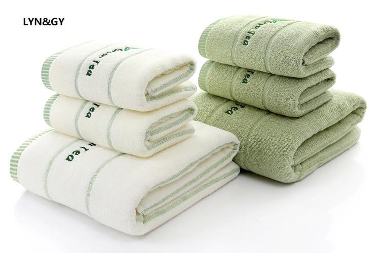 3 шт * лот вышитое зеленое полотенце для лица из 100% хлопка, мягкие элегантные роскошные ванные полотенца для рук, наборы, Juego de Toallas