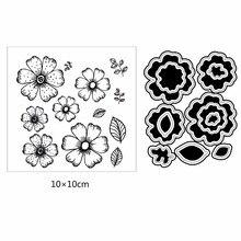 Azsg estilo simples flores folhas pétala claro selos de corte dados conjunto para diy scrapbooking álbum de fotos cartão fazer silício ofício