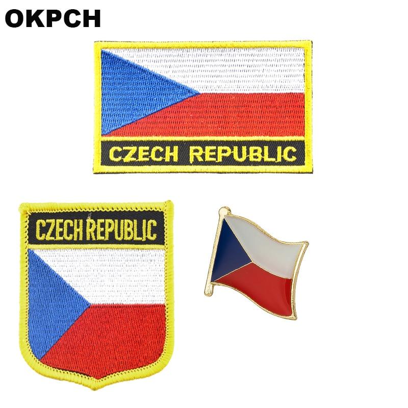 Parche de hierro bordado con bandera nacional checa para ropa insignias de Metal PT0087-3