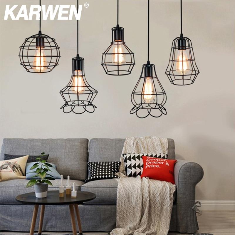 KARWEN-lámpara colgante Retro Vintage, Bombilla Edison, moderna, decoración Industrial