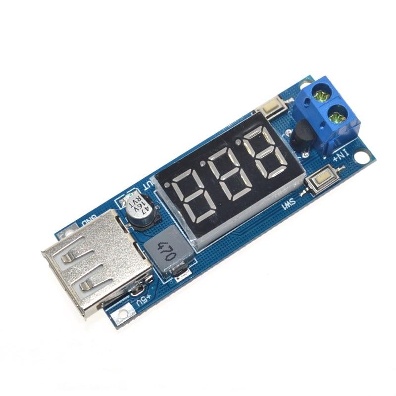 Понижающий модуль с двумя проводами, вольтметр 5 В, USB зарядное устройство или источник питания, выход 4,5-40 В, 5 В/2 А