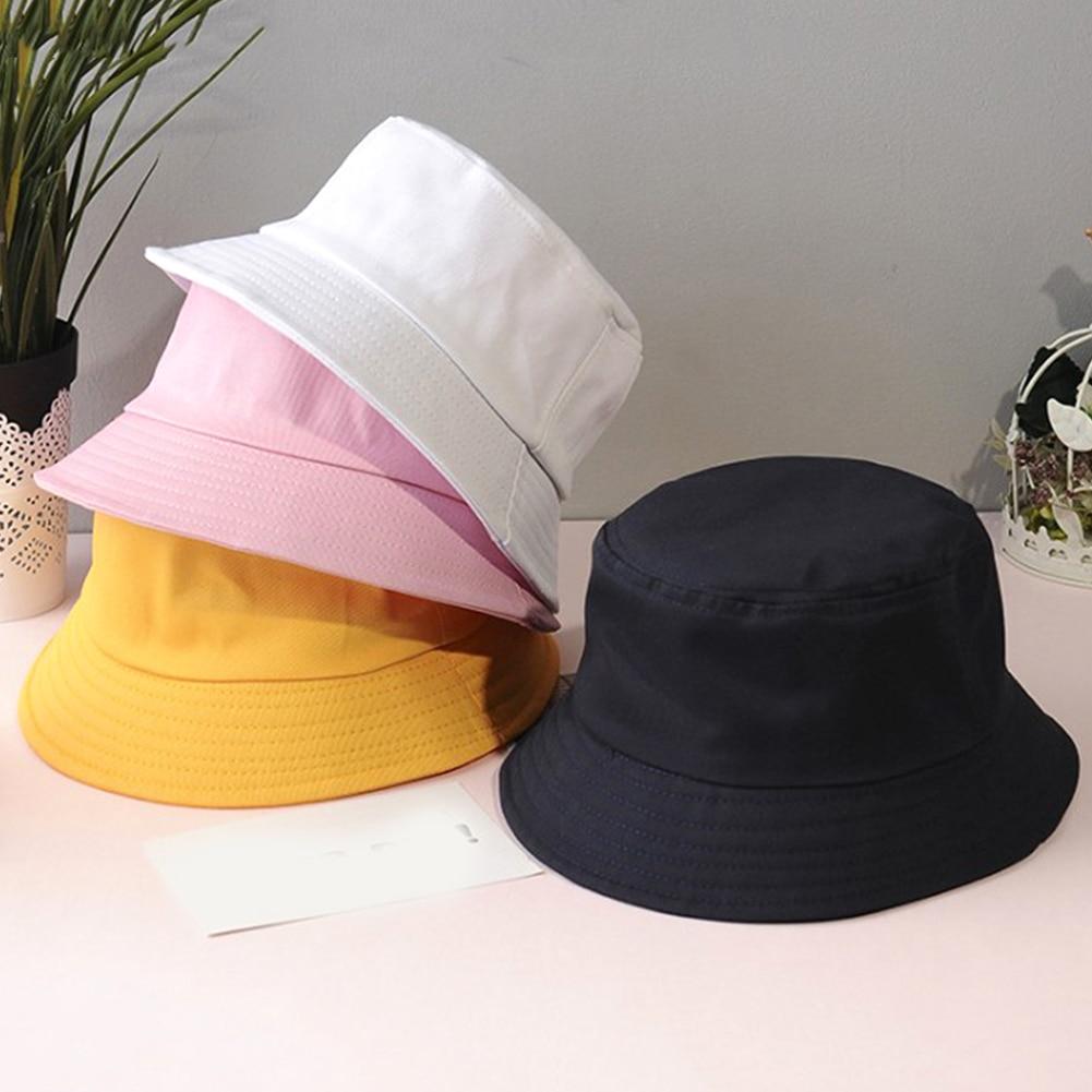 Unisex Summer Foldable Bucket Hat Women Outdoor Sunscreen Cotton Fisherman Cap Sun Shading Beach Harajuku All-match Leisure Cap