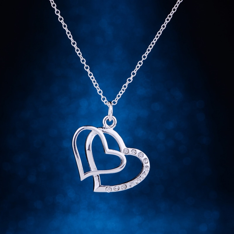 Cordiform embutidos brilhante colar de prata banhado 925 jóias de prata Pandant moda jóias PNGVIYOB