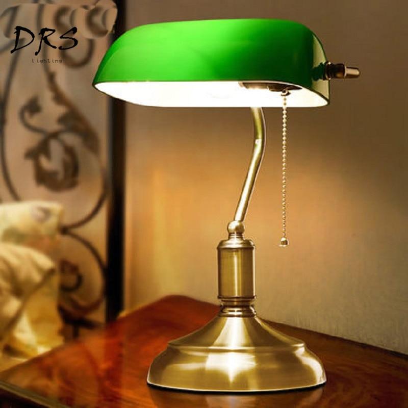 Lámparas de escritorio de Bronce Antiguo, lámparas de mesa tradicionales, luz de lectura, cristal verde, lámpara de escritorio ajustable de latón, iluminación de dormitorio
