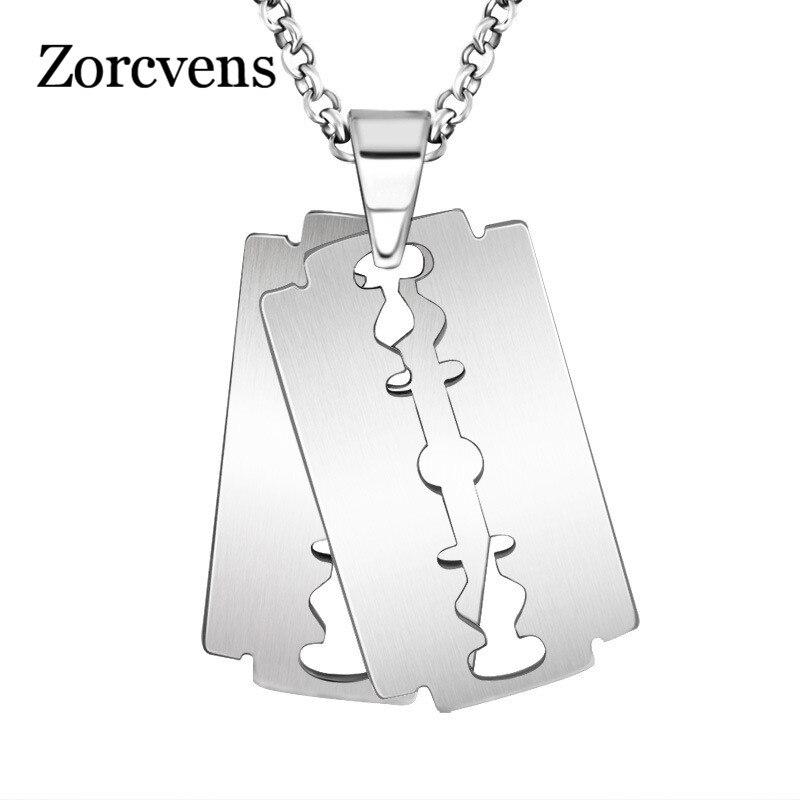 Ожерелье «лезвие» ZORCVENS, мужское модное серебряное ожерелье, кулон бритва, подарок для мужчин
