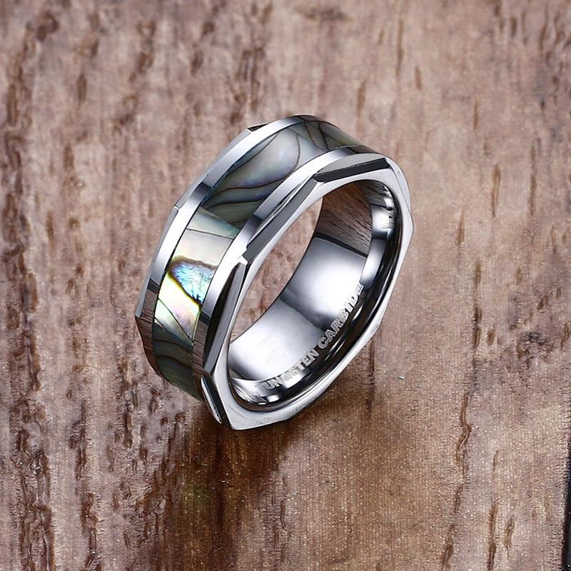 Mprainbow anillos para hombre de carburo de tungsteno abulón Shell incrustado compromiso anillo de boda para hombres anillo con joya de moda masculino