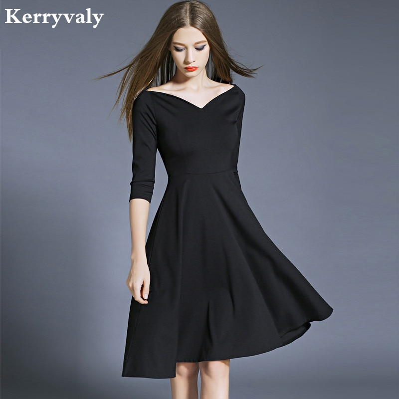 Hepburn Elegant Women Party Dresses Vestidos Mujer 2020 Kleider Damen Autumn Dashiki Little Black Dress Dames Jurken K8849