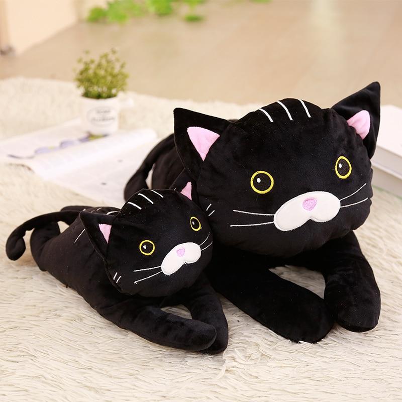 1pc 35/55cm Cute Black Cat Plush Toys for Kids Stuffed Cartoon Animal Doll Simulation Toys for Children Soft Pillow Gift