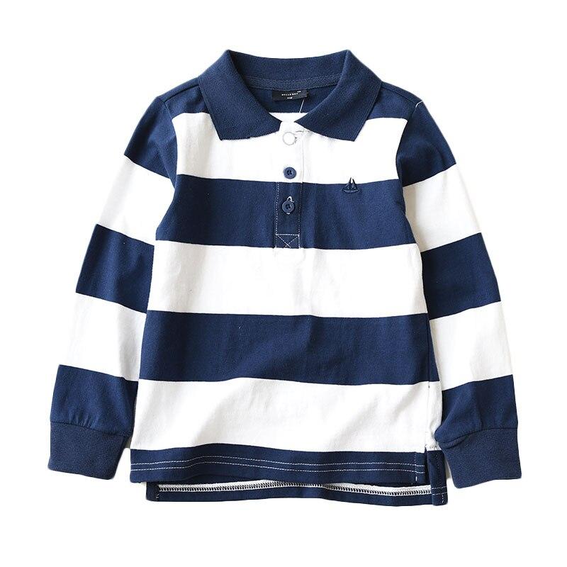 2019 primavera otoño niños Camiseta de manga larga a rayas Turn-down Collar de algodón adolescentes escuela Tops camisetas BC208