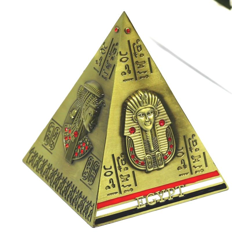 Antique Bronze Ancient Egypt Pyramid Savings Pot Decoration Money Box Creative Piggy Bank Bronze