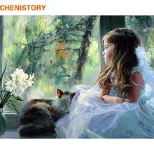 CHENISTORY Angel Meisjes DIY Schilderij van Nummers Acryl Home Decor Art Canvas Verf Figuur Minion Bruiloft Decoratie 40x50 cm