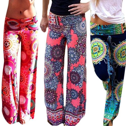Calça floral cintura alta com abertura larga, peça calça feminina casual