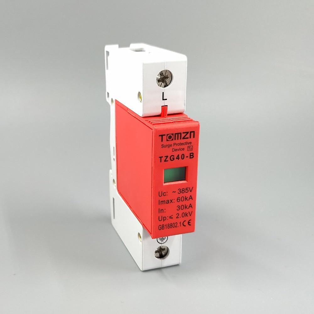AC SPD 1P 30KA ~ 60KA B ~ 385VAC protector contra sobretensiones doméstico dispositivo descargador de bajo voltaje