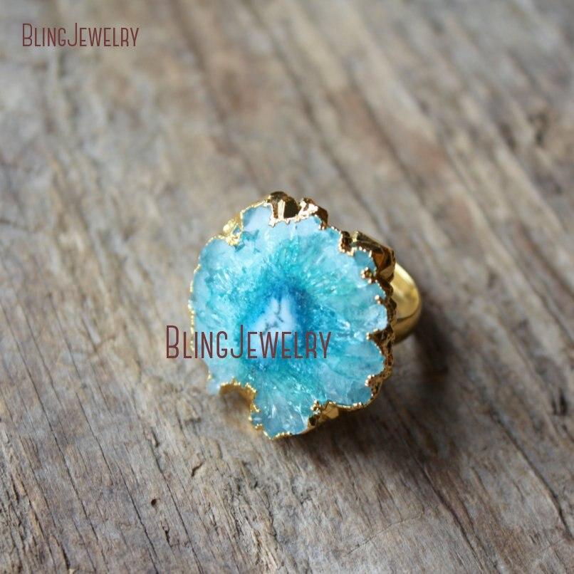 Turquoises Blue Solar Quartz Stone Ring Adjustable Gold  Band Round Druzy Drussy Ring RM18788