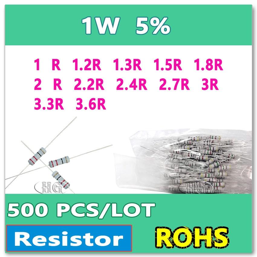 JASNPROSMA 500 PCS/LOT 5% 1W 1R 1.2R 1.3R 1.5R 1.8R 2R 2.2R 2.4R 2.7R 3R 3.3R 3.6R carbone film DIMMERSION Ohms
