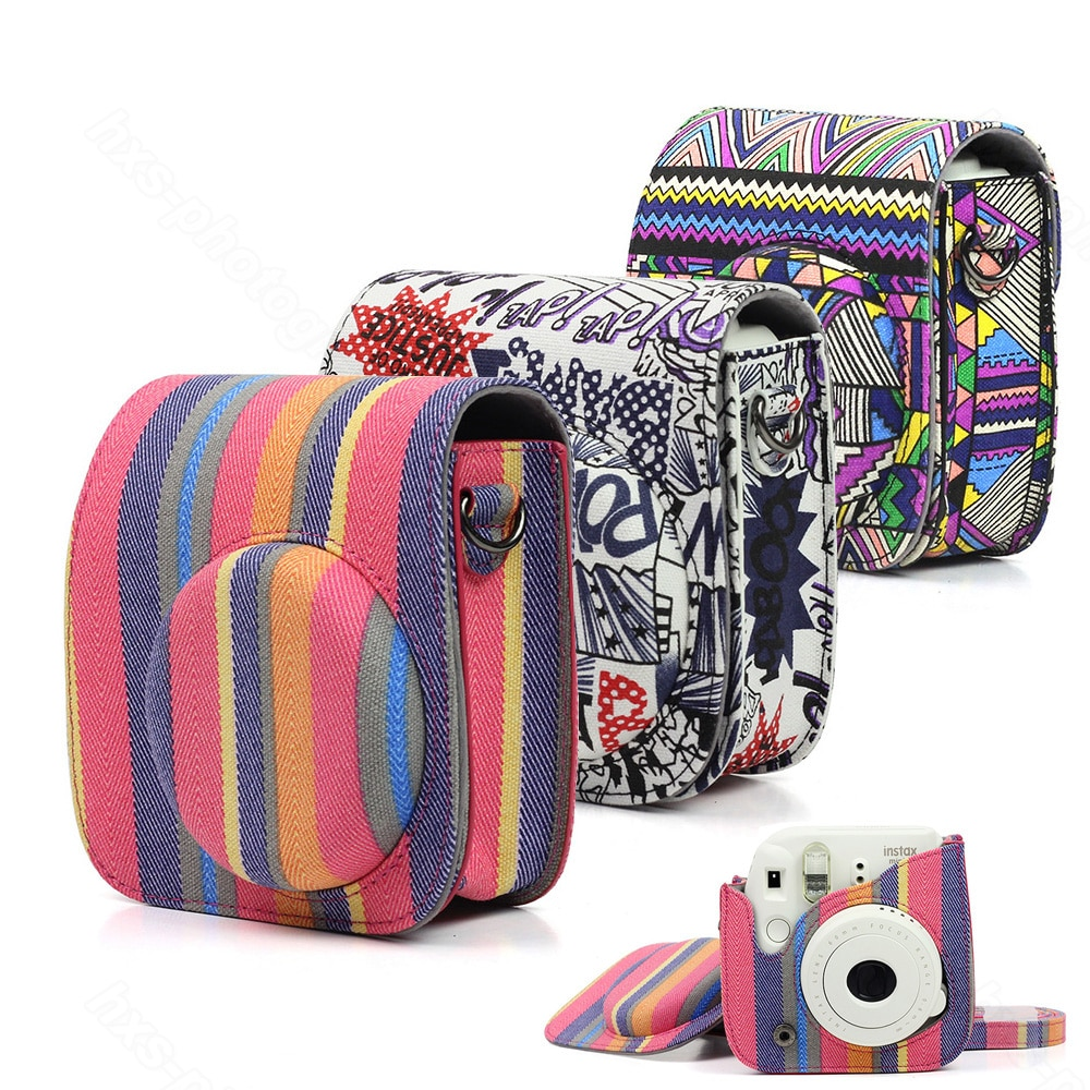 Fujifilm Instax Mini 8 Mini 9 Protector de cámara, bolsa de lona Cámara de película instantánea accesorios, correa de hombro de calidad bolsa de cámara