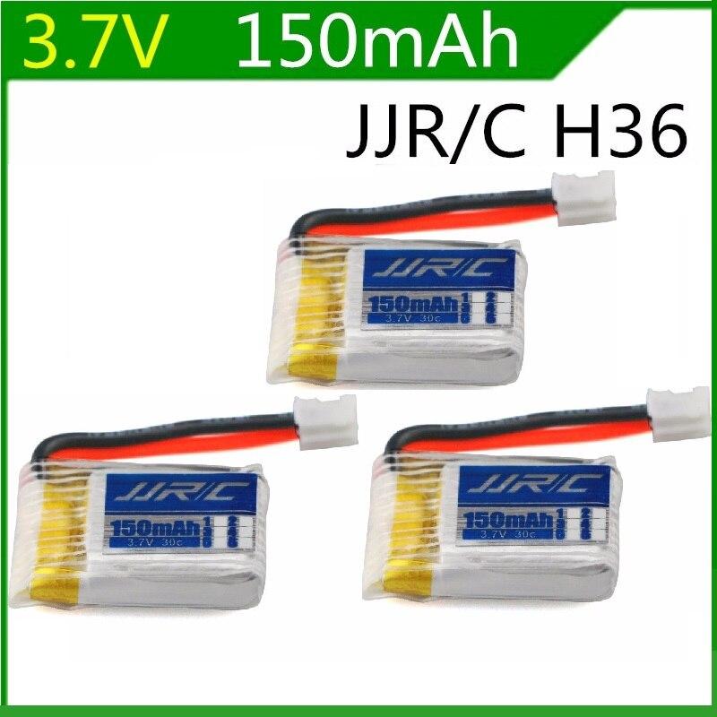 Batería Lipo JJRC H36, 3,7 V, 150mAh, para JJRC H36 y Eachine E010 li-po, batería RC, Quadcopter, piezas de repuesto, accesorios de juguetes, 3 uds.