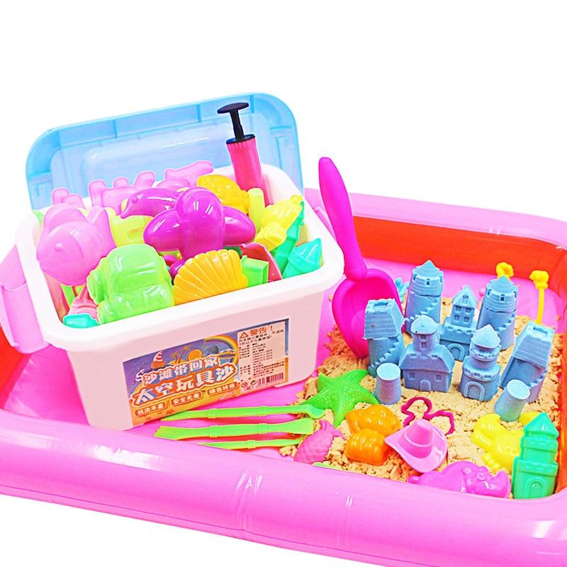 500g arcilla suave + 30 Uds herramientas 6 colores molde nube Slime juguetes Charms Filler Diy Magic Play juguetes de arena para niños
