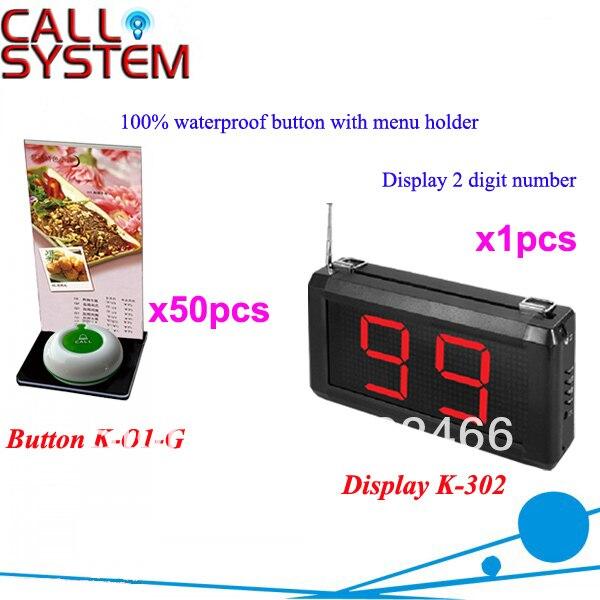 Sistema de campana inalámbrico K-302 + O1-G + H para restaurante con botón de llamada de 1 tecla con soporte de menú y pantalla