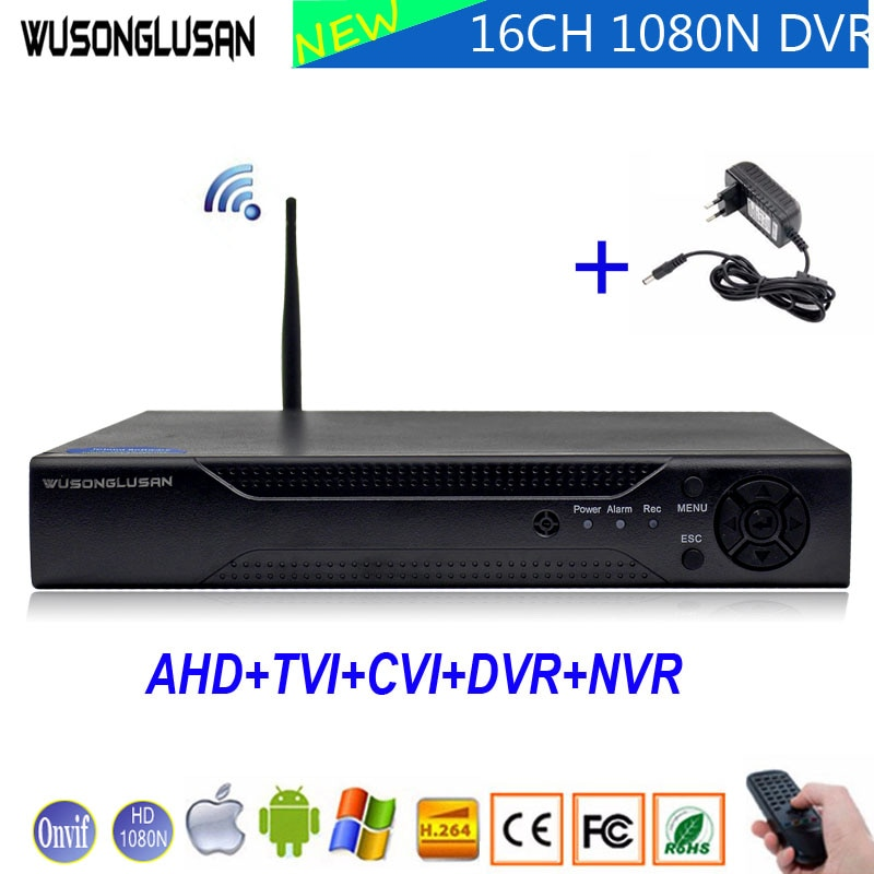 1080N 16 canales 16CH 5 en 1 Wifi híbrido Coaxial DVR xmeye Onvif P2P Wifi 1080P NVR CVI TVi AHD IP CCTV Cámara
