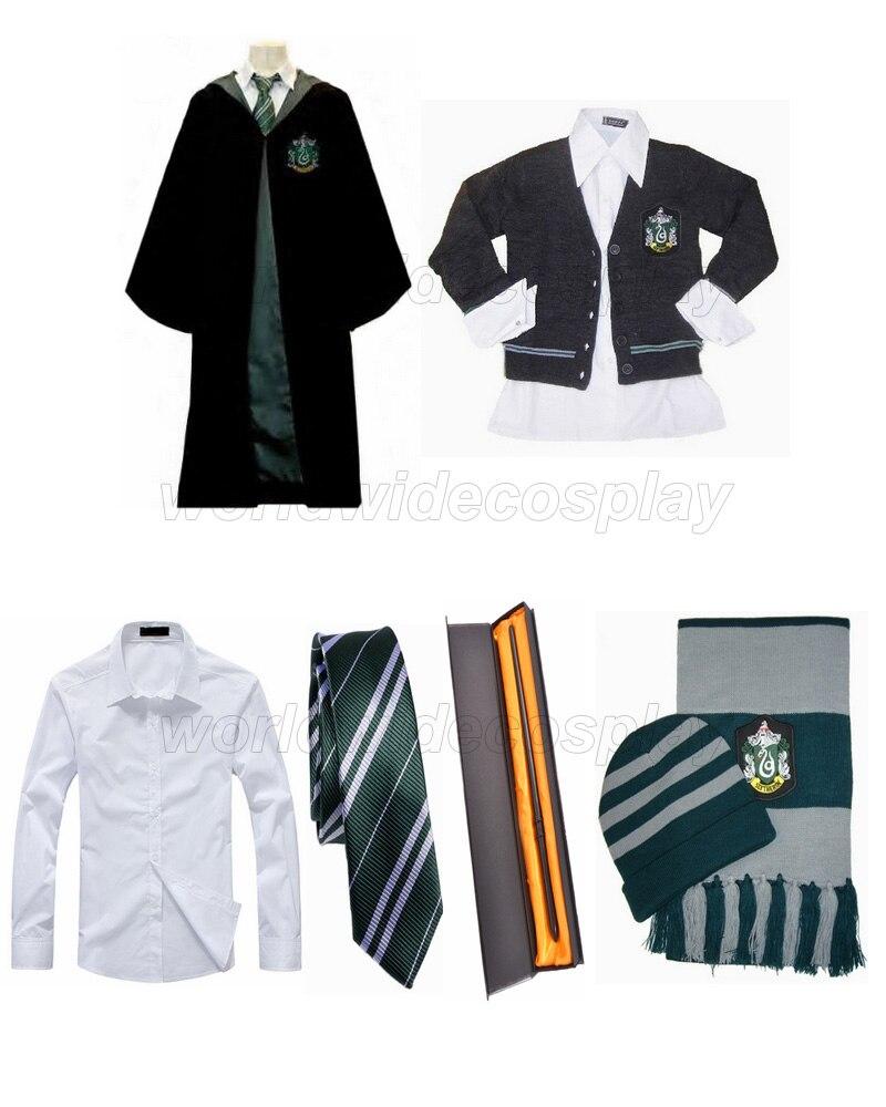 منزل سليذرين-Robe ، سترة ، ربطة عنق ، قميص ، قبعة ، وشاح ، عصا سحرية دراكو مالفوي للهالوين وعيد الميلاد ، شحن مجاني
