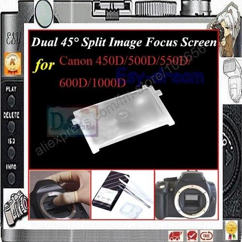 Dual 45 grados dividido foco de imagen, pantalla de enfoque para Canon 750D 760D 700D 650D 600D 500D 550D 1000D 1100D 1200D PR118