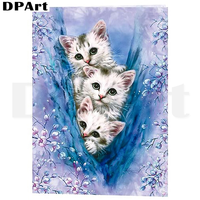 Cuadro de diamante cuadrado completo/redondo taladro lindo gatito 5D Daimond pintura bordado punto de cruz mosaico Rhinestone imagen L285