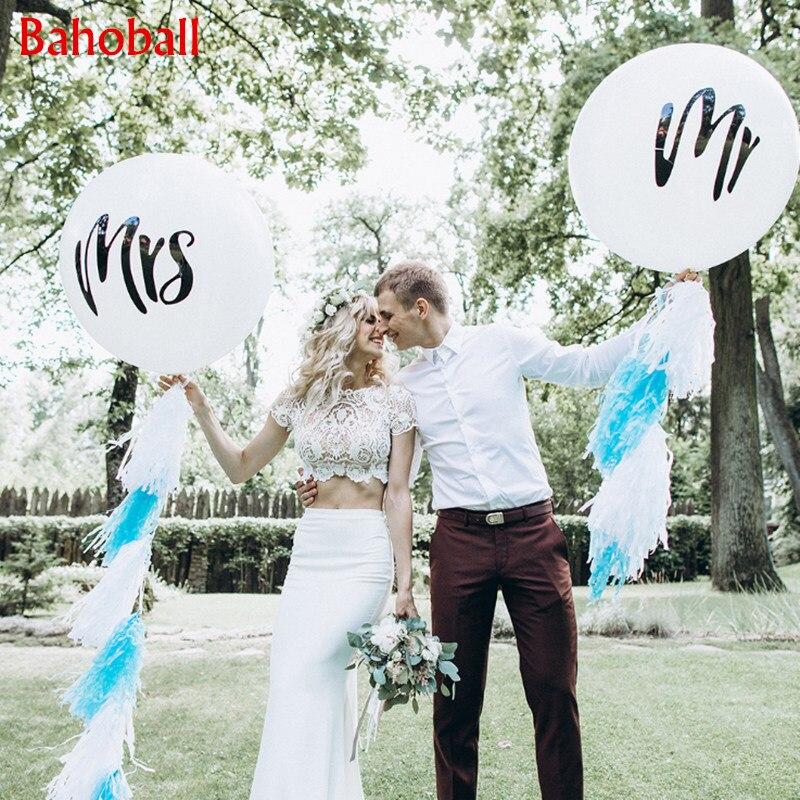 2 szt. Po prostu żonaty 36 cali 90cm okrągły biały nadruk pan i pani lateksowe balony zabawne na wesele walentynki wydarzenie powietrza Globos dostaw