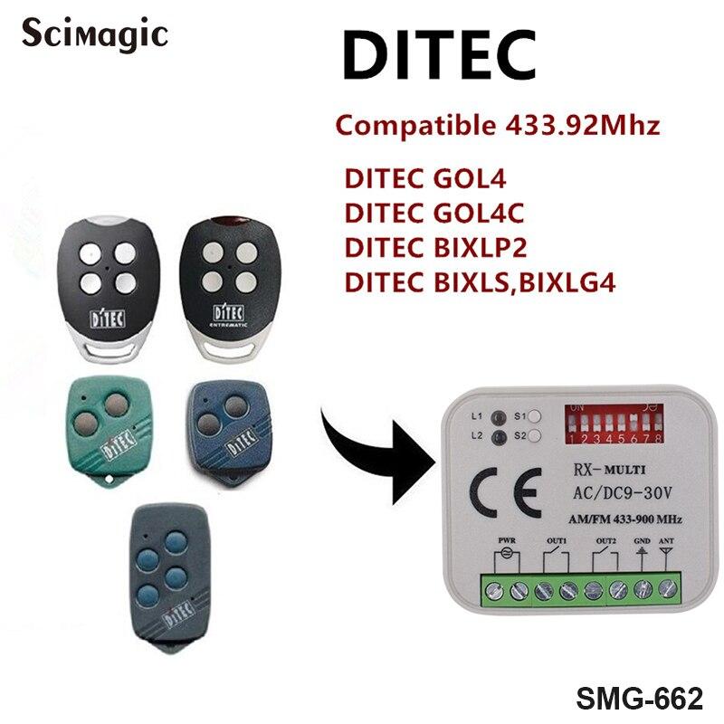 بديل جهاز استقبال DITEC GOL4C DITEC GOL4,BIXLP2,BIXLS2,BIXLG4 جهاز تحكم عن بعد بالرمز الثابت 433 ميجا هرتز