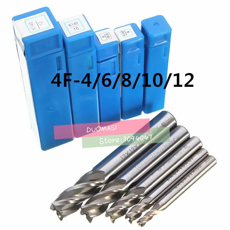 5 шт. 4 флейта фреза, торцевая фреза CNC инструменты HSS диаметр 4/6/8/10/12 мм четыре лезвия инструменты с прямым хвостовиком